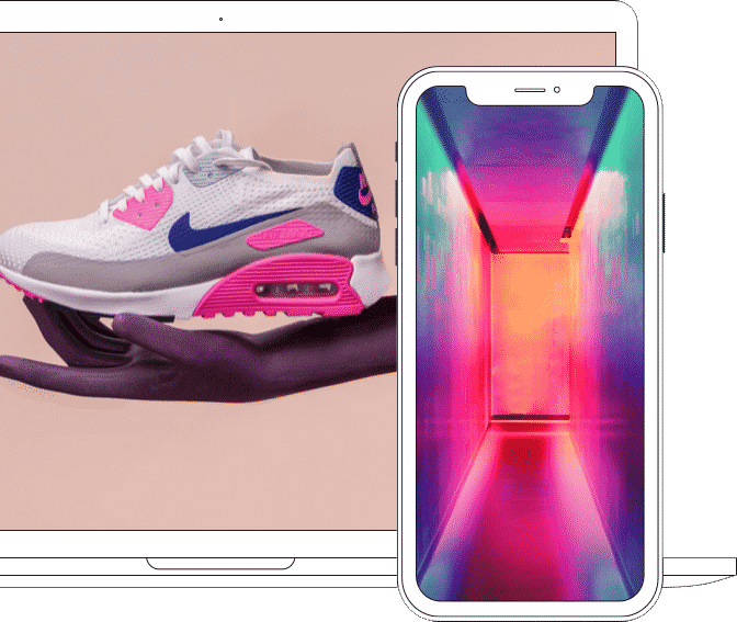phone screen and laptop screen showing vibrant images